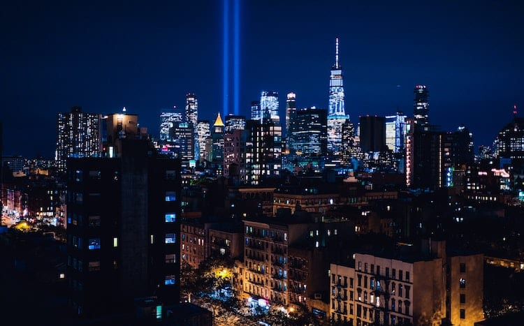 NYC skyline, lights from where twin towers were